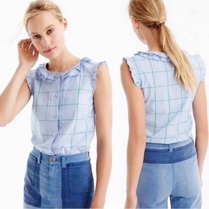 Sz 12 J. CREW Pleated Ruffle Windowpane Top